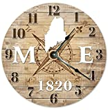 MAINE CLOCK Established in 1820 Decorative Round Wall Clock Home Decor Large 10.5'' COMPASS MAP RUSTIC STATE CLOCK Printed Wood Image