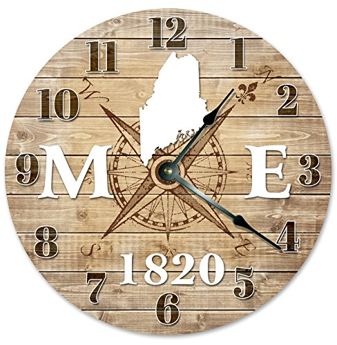 MAINE CLOCK Established in 1820 Decorative Round Wall Clock Home Decor Large 10.5