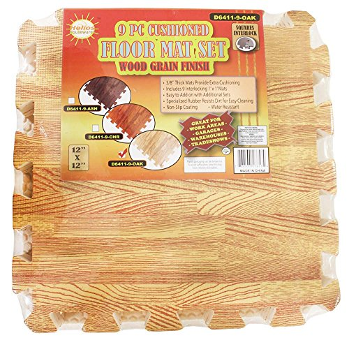 9 Piece Set Of 12 X 12 Inch Cushioned Floor Mats With interlocking edges & Oak Wood Looking Finish: D6411 9 OAK
