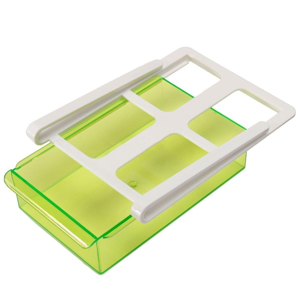 MingXiao Refrigerator Drawer Organizer Slide Fridge Freezer Organizer Refrigerator Storage Rack Shelf Drawer Green