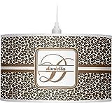 RNK Shops Leopard Print Drum Pendant Lamp Linen (Personalized)
