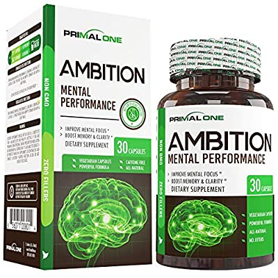 Ambition Nootropic Brain Booster Supplement - Enhance Focus, Boost Memory & Clarity - Achieve Peak Mental Performance w/CDP Choline, Neurofactor, More - 30 Natural Veggie Pills