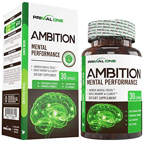 Ambition Nootropic Brain Booster Supplement - Enhance Focus, Boost Memory & Clarity - Achieve Peak Mental Performance w/CDP Choline, Neurofactor, More - 30 Natural Veggie Pills