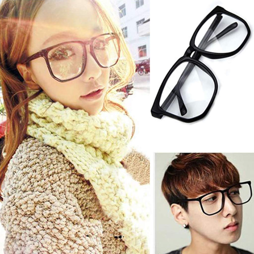 Shuohu Unisex Oversized Retro Tortoise Shell Nerd Geek Clear Lens Plain Glasses