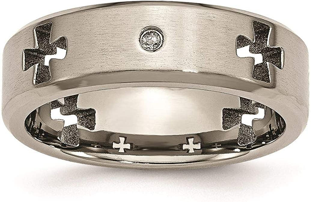 Box Titanium Celtic Cross Cut Out with Diamond 7mm Brushed Band