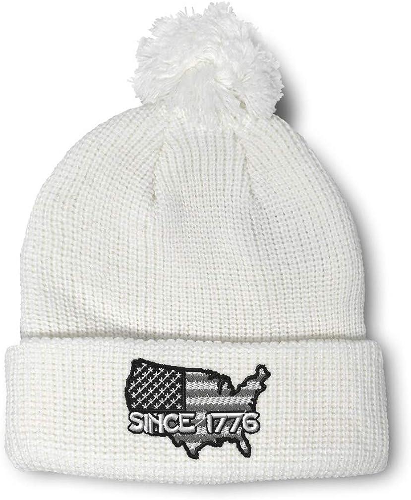 Speedy Pros Winter Pom Pom Beanie Men /& Women America Since 1776 Embroidery Skull Cap Hat