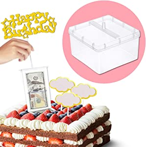 Cake ATM Money Box, Food Contact Safe Money Pulling Cake Making Mold with Gold Glitter Heart Happy Birthday Cake Topper - 4.13 x 4.13 x 2.87 Inch