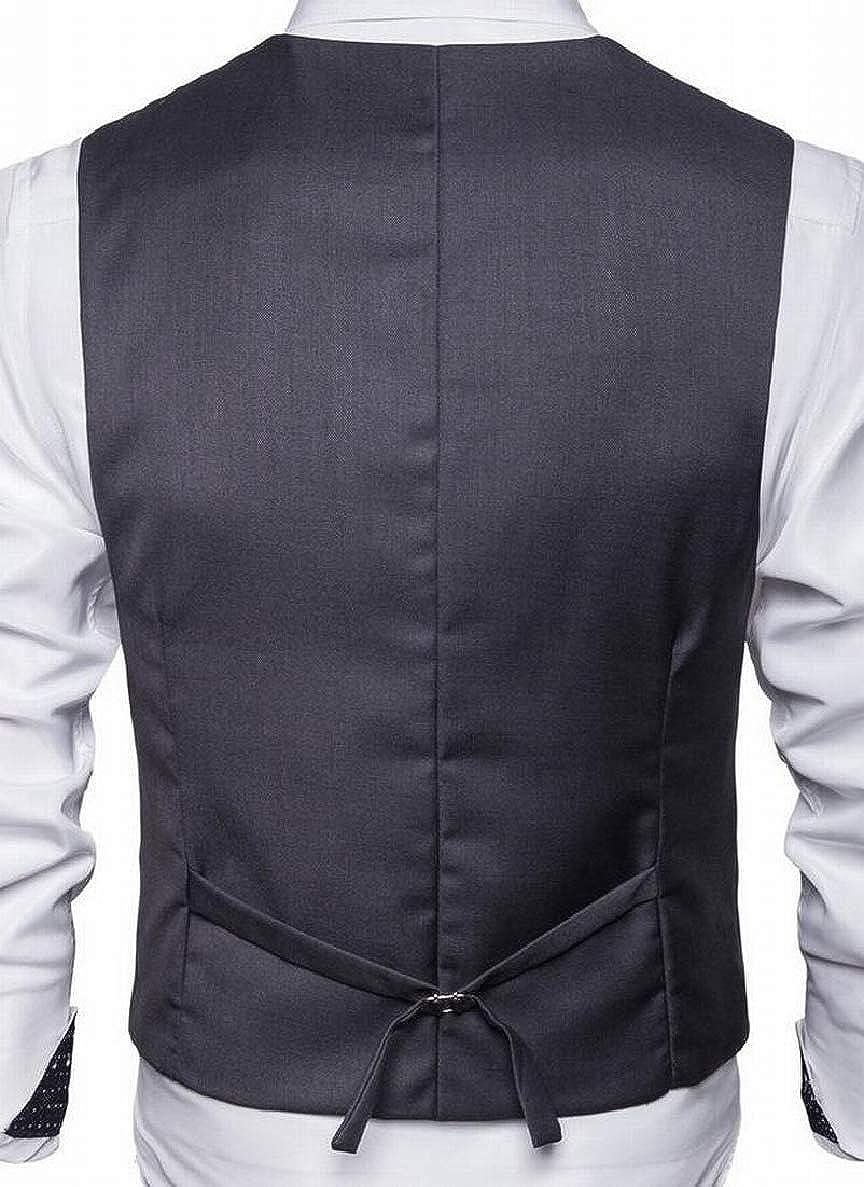 ONTBYB Mens Lapel British Double Breasted Sleeveless Suit Blazer Vest
