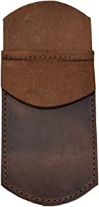 Hide & Drink, Durable Leather Pocket Protector, Pencil Pouch, Pen Holder, for Shirt Pockets, Lab Coats, Backpacks, Office & Work Essentials, Handmade Includes 101 Year Warranty :: Bourbon Brown