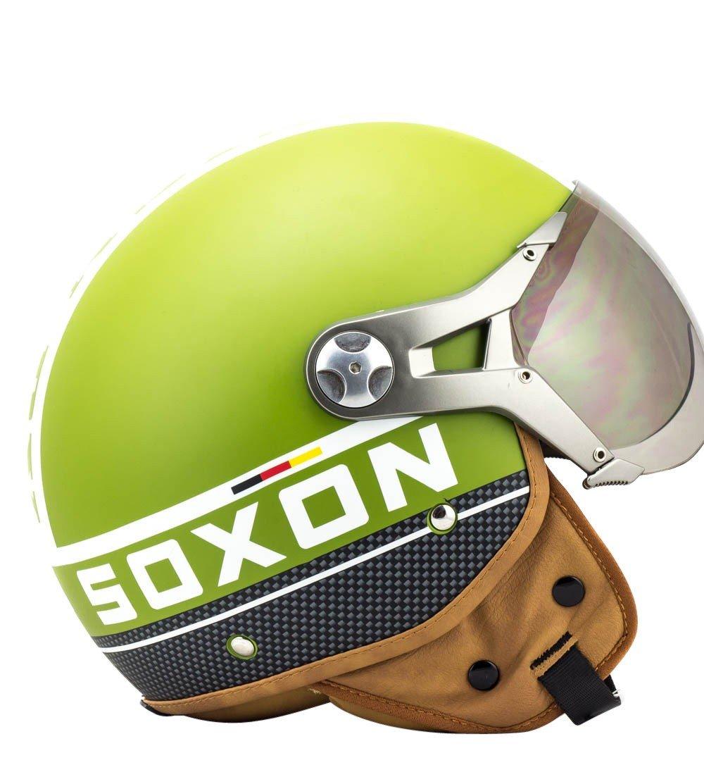 SOXON SP-325-PLUS Army /· Scooter-Helmet Mofa Biker Bobber Moto-Helmet Cruiser Retro Vespa-Helmet Pilot Jet-Helmet Vintage Chopper /· ECE certified /· incl Sun Visor /· incl 55-56cm Cloth Bag /· Green /· S