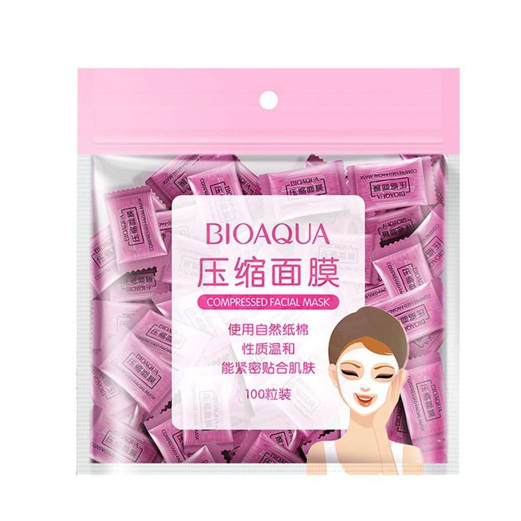 Elenxs 100pcs / pack facial no tejidos desechables Máscaras Mascarilla comprimido envueltos Hojas de tabletas de bricolaje Cuidado de la Piel