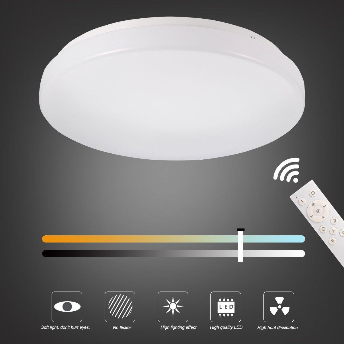 B-right Plafon led, 18W, con Luz Regulable & Cambiar la Temperatura de Color, con Control Remoto, AC85-265V, 1300LM, Alta Luminancia, Lámpara de Techo LED ...