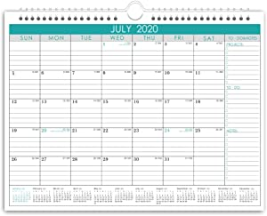 Wall Calendar Monthly Overview with Julian Date, 2020 Yearly Planner with Wire Bound Hanger, 18 Monthes Academic Desktop for Office and Family,11.5 × 15 inches