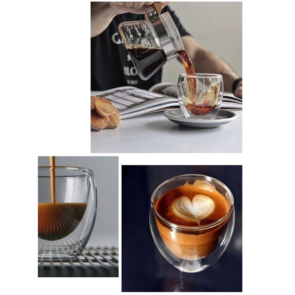 Zen Room Ultra Clear Strong Double Wall Glass, Insulated Thermo & Heat Resistant Design, Dishwasher and Microwave Safe, Made of Real Borosilicate Glass (16oz Set of 6)