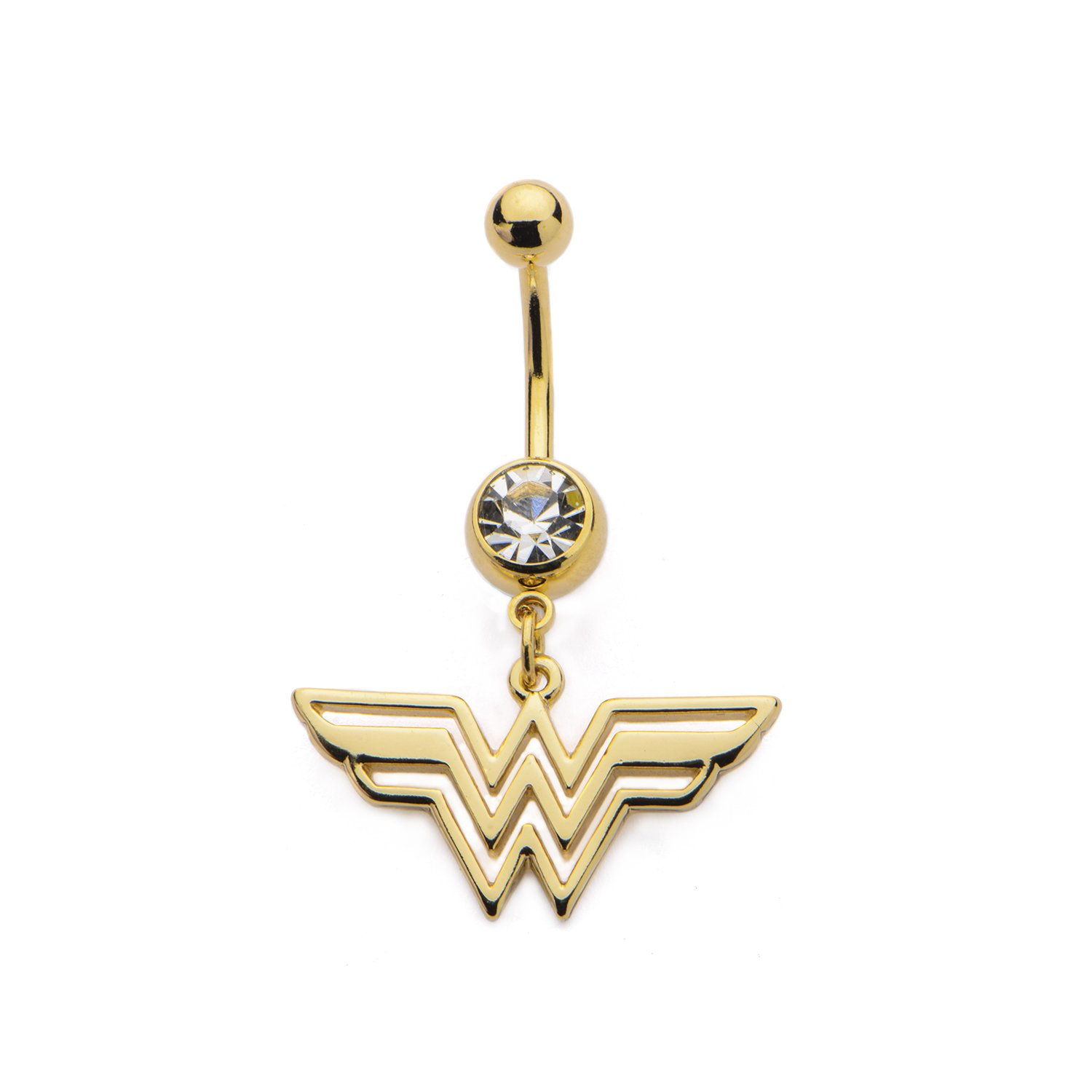 DC Comics Wonder Woman Logo with Gem Belly Button Ring