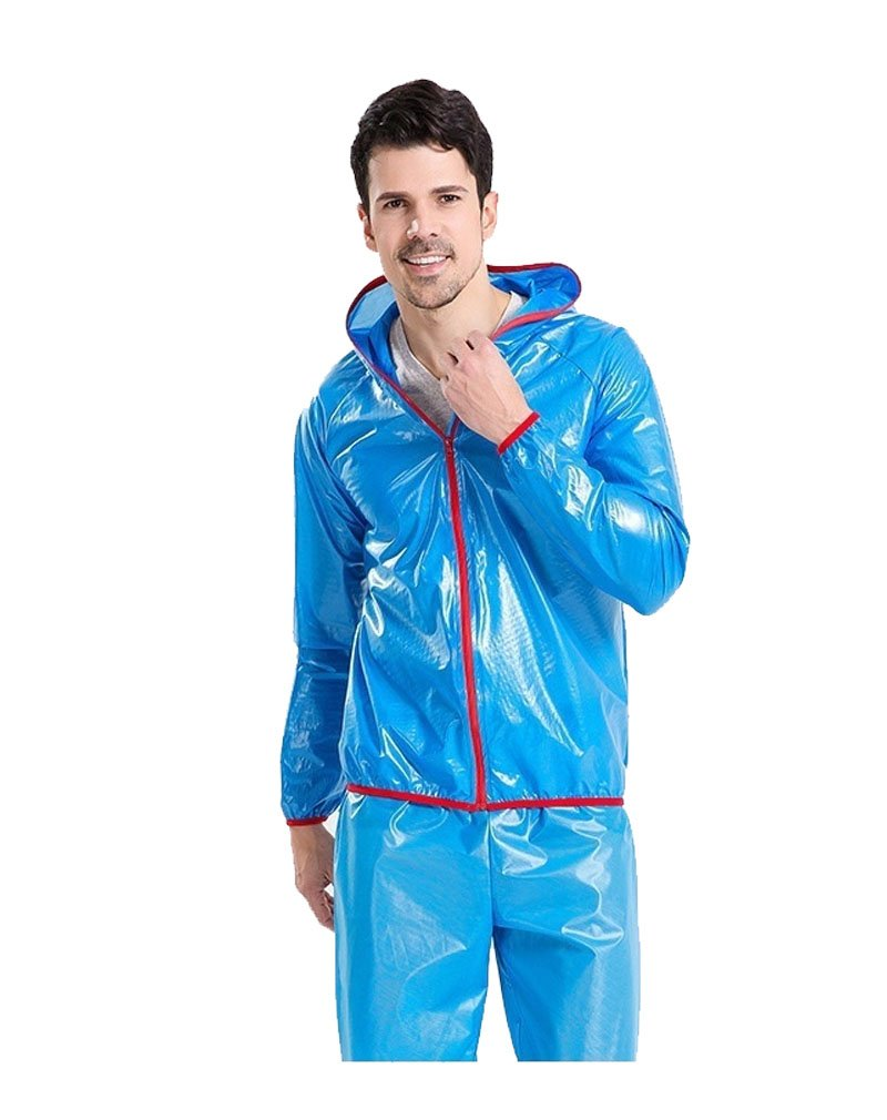 Shindn Outdoor Ultra-thin Raincoat Breathable Riding Raincoat Set Includes Tops And Pants (M, Blue)