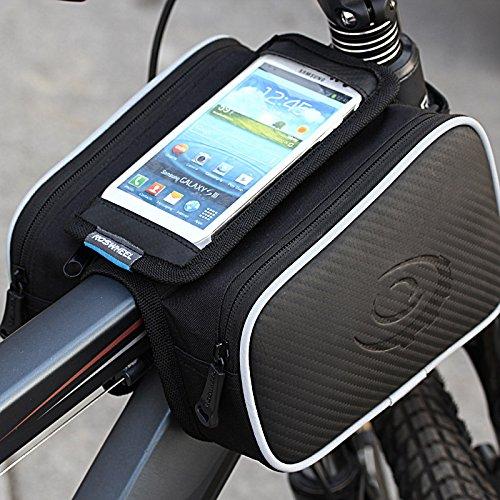 Roswheel Sacoche de Vélo avant Top Tube Cadre Pannier Double Pochette Housse Résistant à l'eau de Téléphone Portable pour 5'' Téléphone Portable (Noir et Blanc-5'')