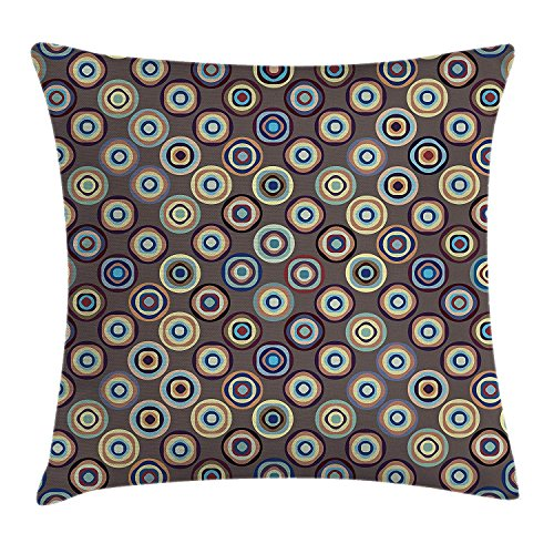 Yingzsal Geometric Decor Throw Pillow Cushion Cover, Disc Shaped Circular Gradient Rounds Curve Abstract Big Dots Artful Illustration, Decorative Square Accent Pillow Case, 22 X 22 Inches, -