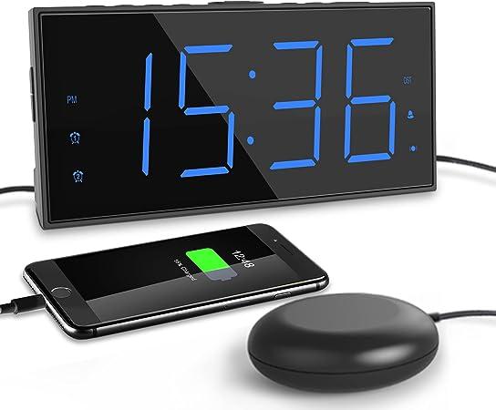 ROCAM Reloj Despertador de Vibración para Sordos,LED