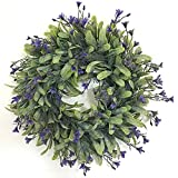Zehui Lifelike Artificial Green Leaf Wreath Flowers Door Hanging Wall Window Decoration Wedding Party Christmas Decor Whit Flour E# Outer Diameter 30CM
