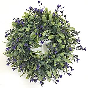 """Adeeing Lifelike Artificial Wreath Flowers Door Hanging Wall Window Decoration Wedding Party Christmas Decor Style (with flour) 11.8"""" Diameter 5"""