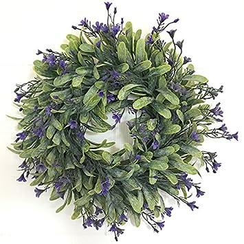 Lugii Cube de vos Feuilles de Vert artificielle Couronne de fleurs murale de porte à suspendre Décoration de fenêtre fête de mariage Décorations de Noël Diamètre extérieur 30cm LanLan