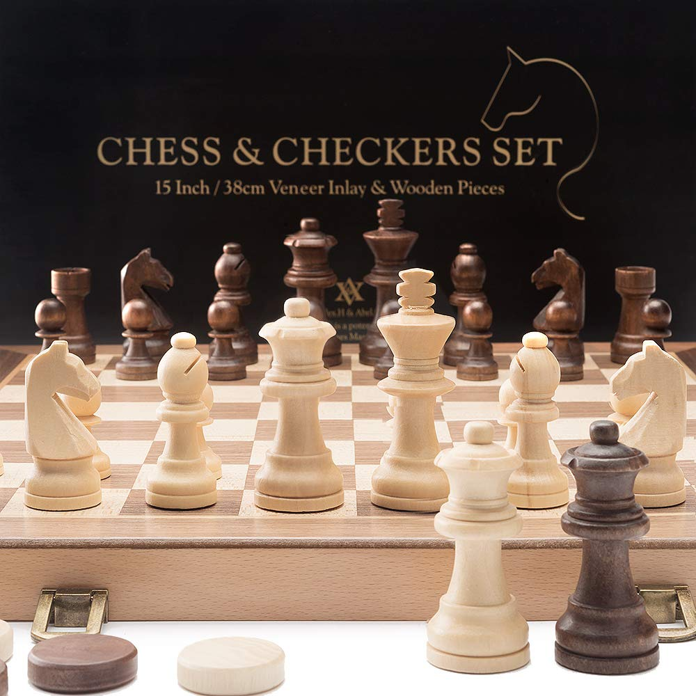 A&A 15'' Folding Wooden Chess & Checkers Set w/ 3'' King Height Chess Pieces / 2 Extra Queen / Gift Tote Bag / German Knight Staunton Wooden Chessmen / Classic 2 in 1 Board Games by Alex.H & Abel.C