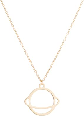 Gift for Her Saturn Ring Moon Necklace Dainty Necklace Kids Jewelry Gold Necklace Space Jewelry Saturn Necklace Space Necklace
