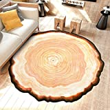TideTex Rural Round Tree Rug Pad, 6.5x6.5-Feet, Modern Tree Rings Design Carpet, Living Room Bedroom Bedside Non-slip Kids Play Decoration Floor Mat
