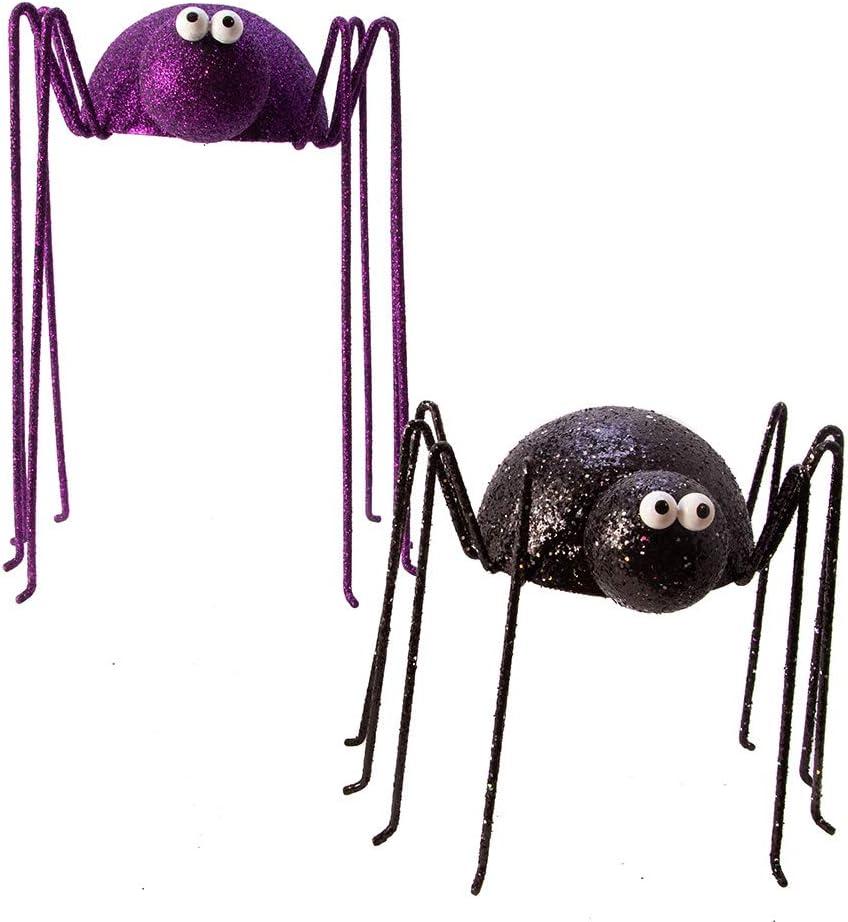 Set of 2 Table Piece, Kurt Adler Kurt S Adler 8-Inch Black and Purple Glitter Spider