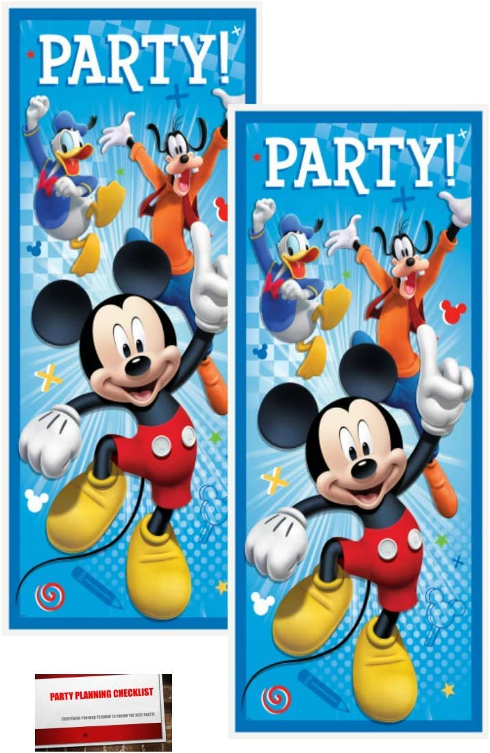 Amazon Com 2 Pack Disney Mickey Mouse Plastic Birthday Door Poster 60 X 27 Plus Party Planning Checklist By Mikes Super Store Toys Games