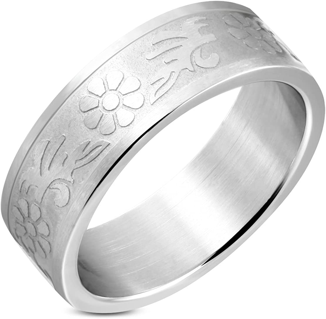 Stainless Steel Matte Finished Flower Vine Wedding Flat Band Ring