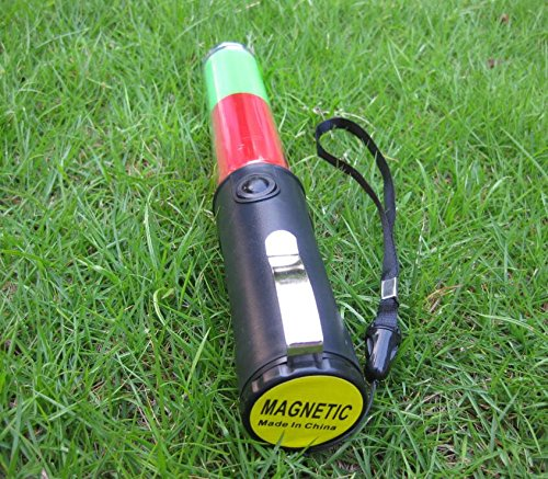 Mastiff M260gr Traffic Control Magnet Multifunctional 3xaa Green Red Light 3 mode Flashlight LED Lamp Signal Lightbar Wand Safety Beacon