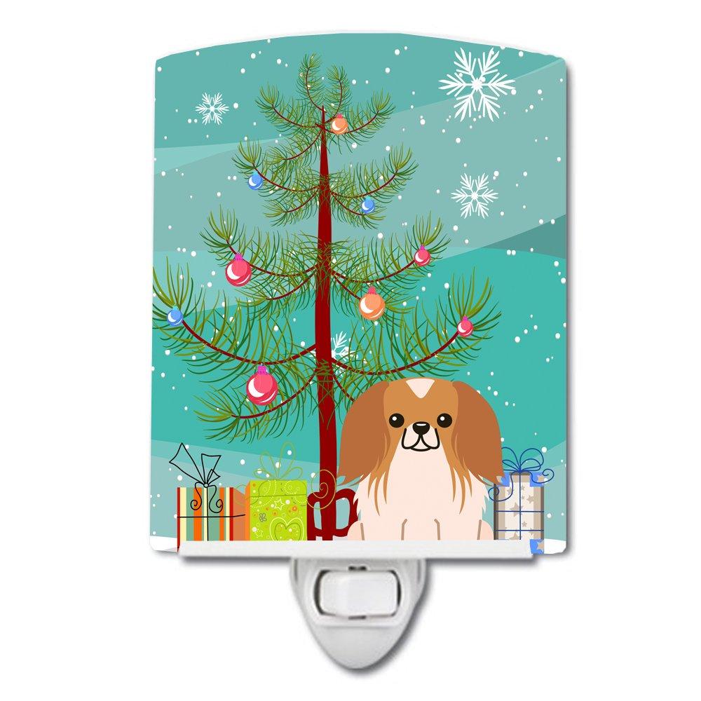 Carolines Treasures Merry Christmas Tree Pekingnese Red White Ceramic Night Light 6x4 Multicolor