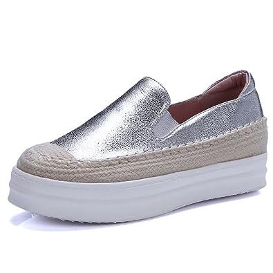 RoseG Damen Leder Handgefertigt Slipper Platform Espadrilles Freizeit Schuhe Silber 36 E6Wc7qbXjh
