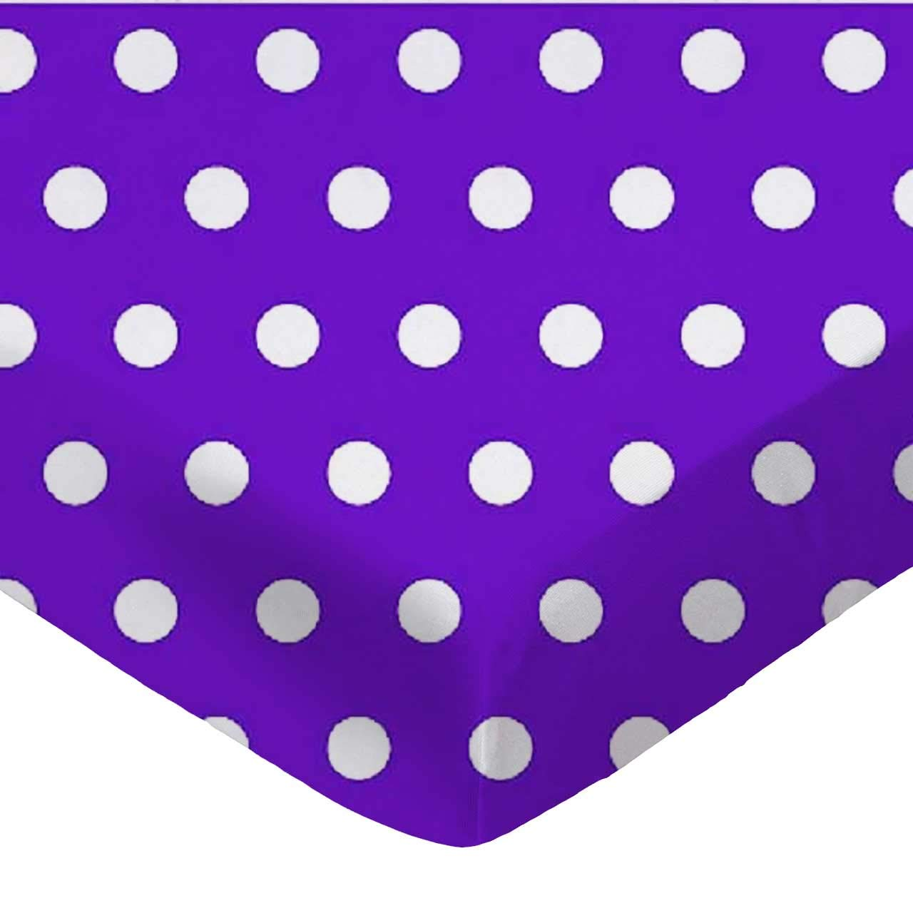 SheetWorld Fitted Pack N Play (Graco) Sheet - Polka Dots Purple - Made In USA