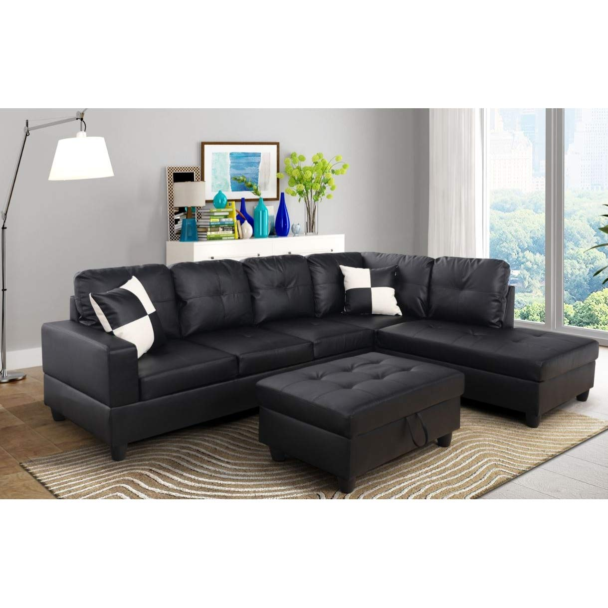 Amazon com aycp furniture black contemporary right facing chaise l shaped sectional sofas living room kitchen dining