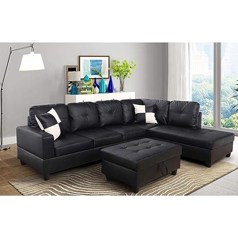 Amazon Com Aycp Furniture Black Contemporary Right Facing Chaise L