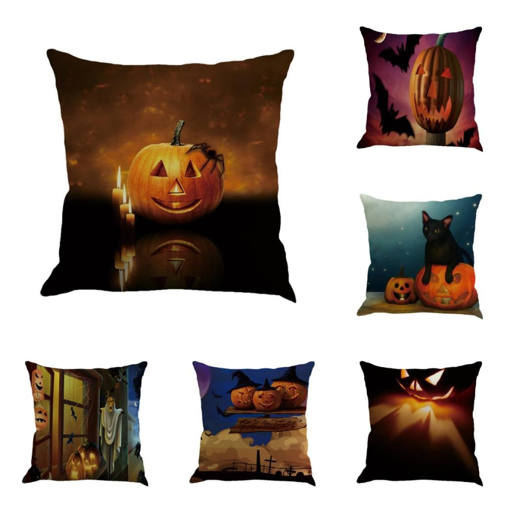 Gotd Vintage Halloween Pillow Covers Decorative Throw Pillow Case Cushion Pumpkin Happy Halloween Decorations Decor Clearance Indoor Outdoor Festive Party Supplies (Multicolor A) by Goodtrade8 (Image #1)