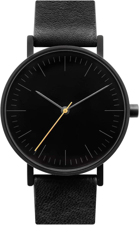 BIJOUONE B001 Minimalist Modern Black Dial Stainless Steel Swiss Quartz Analog Unisex Watch, Matte Black Case