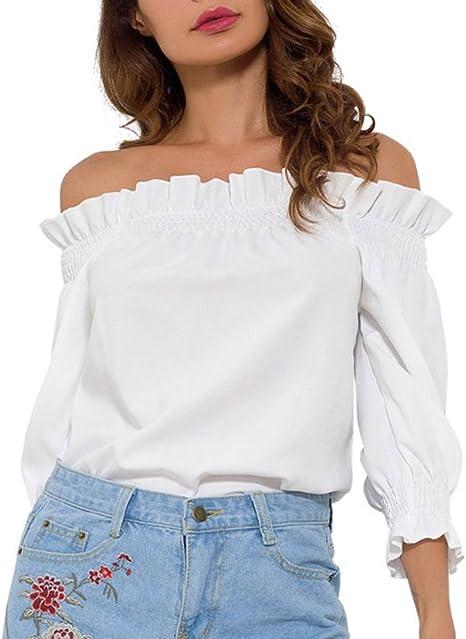 hoverwin camiseta blanca nieve, cuello barco – Top blusa ...