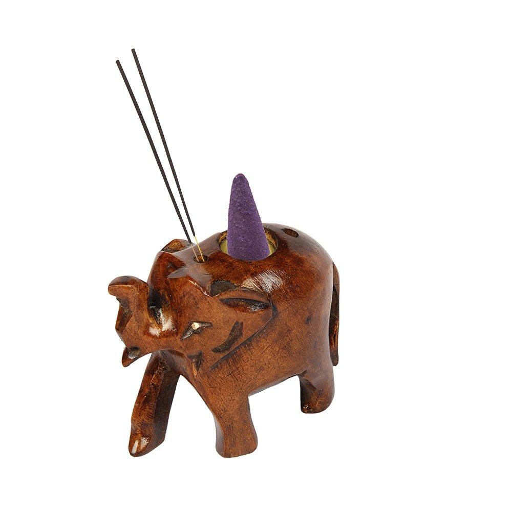 aheli a forma di elefante intagliato in legno di incenso stick bruciatore del cono con finitura Oxodise profumo Decor Icrafts India