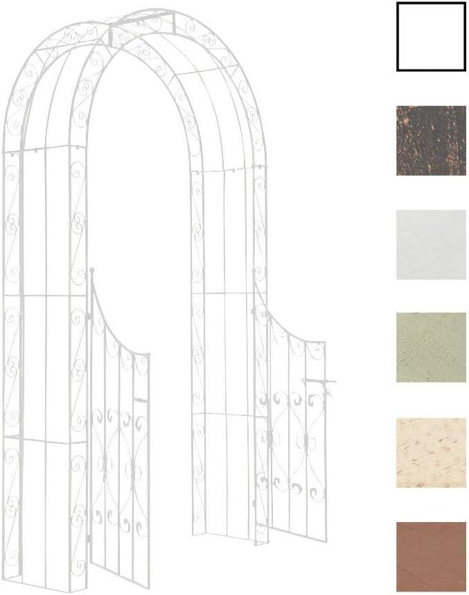 CLP Arco De Jardín con Puerta Sina I Enrejado con Puerta para Plantas De Escalada I Arco para Flores con Puerta En Diseño Clasico I Color: Blanco