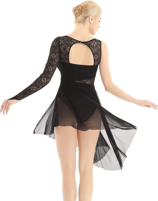Alvivi Vestido Danza Ballet Mujer Maillot Gimnasia Ritmica Leotardo Patinaje B/ásico con Un Manga Larga Tut/ú Vestido Danza Contemporanea Moderna Mujer