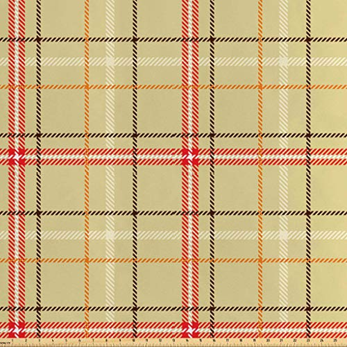 Lunarable Plaid Fabric by The Yard, Traditional Vintage Style Tartan Pattern Irish Scottish Cultural Striped Tile Design, Decorative Satin Fabric for Home Textiles and Crafts, 10 Yards, -