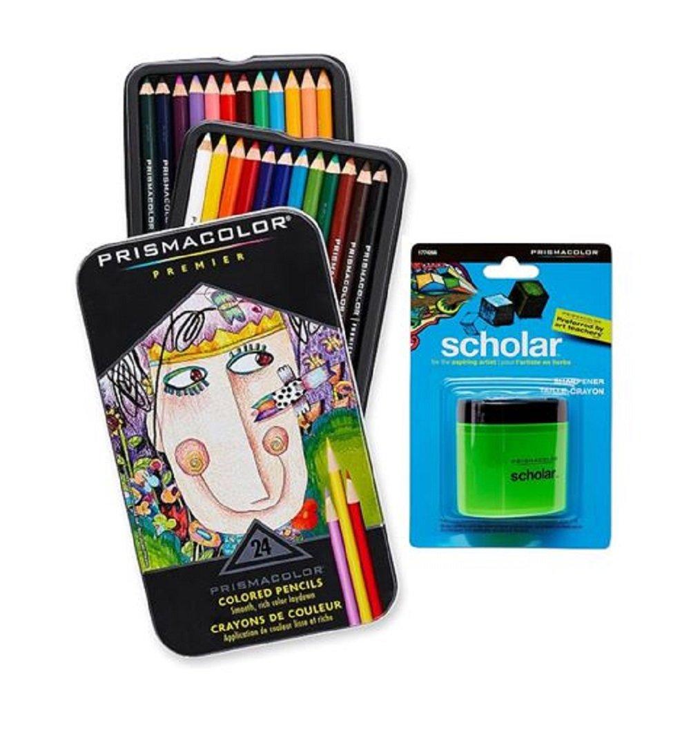 Prismacolor Premier Soft Core Colored Pencil, Set of 24 Assorted Colors (3597T) + Prismacolor Scholar Colored Pencil Sharpener (1774266) Sanford 4336949087