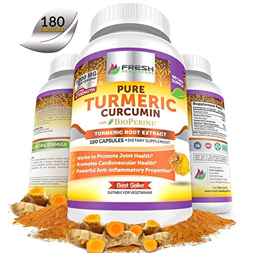 Turmeric Curcumin BioPerine Extremely Potent with 95% Curcuminoids Extract – 3 Month Supply For Maximum Anti Inflammatory Joint Support and Pain Relief – 180 Vegan Turmeric Powder Capsules Supplement