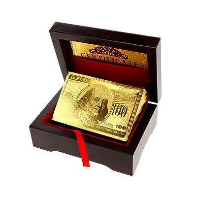 24K Jeu de cartes recouvert d'or 99,9% + Boîte en bois cadeau de luxe neuf