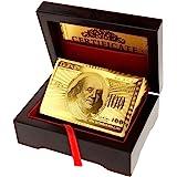Micro Trader 24K Jeu de cartes recouvert d'or 99,9% Livré dans un écrin en bois Doré