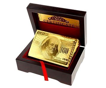 24 K chapado en oro Juego de cartas poked Cubierta 99,9% Pure + Deluxe de madera caja regalo nuevo